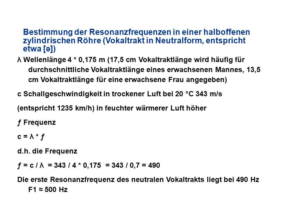 Bestimmung der Resonanzfrequenzen in einer halboffenen zylindrischen Röhre (Vokaltrakt in Neutralform, entspricht etwa [ə])